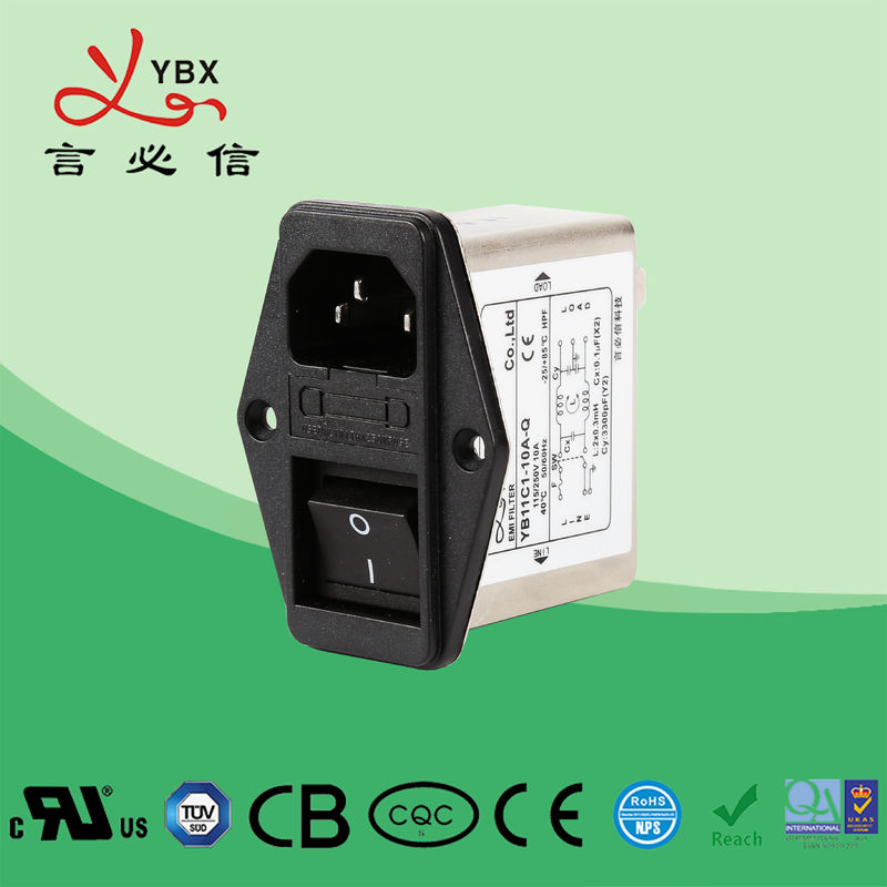 Single Phase Emi Filter YB11C1-10A For LED Equipment ISO9001 Certification