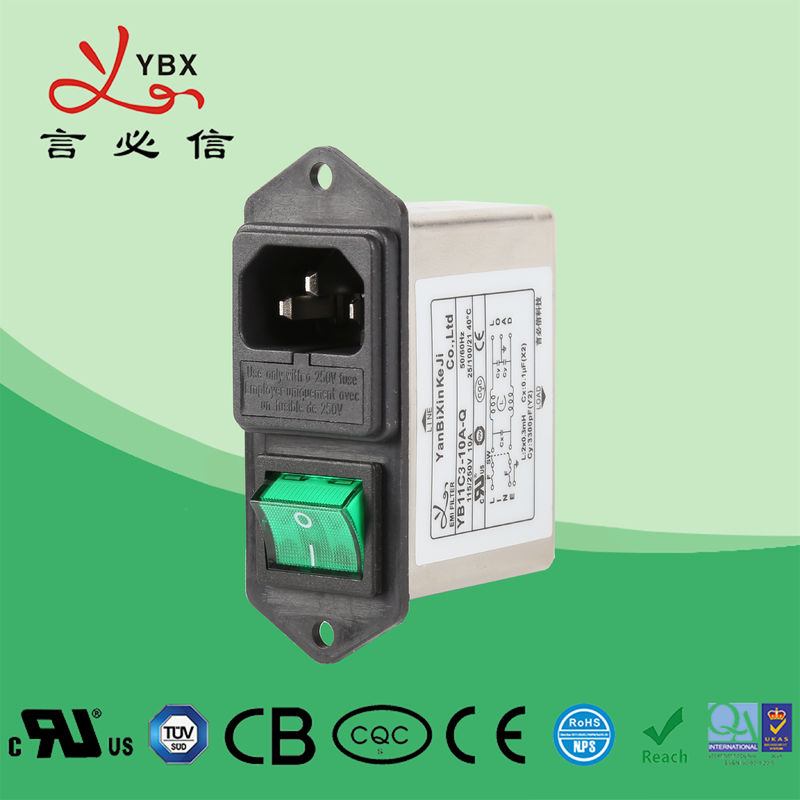 Yanbixin Low Pass Active EMI Power Filter , Single Phase Filter With Fuse Socket
