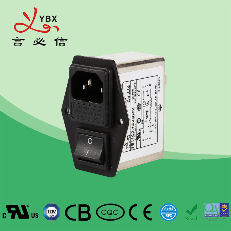 Yanbixin 1A~10A EMI Power Filter / IEC Low Pass EMC Noise Filter For Game Machine