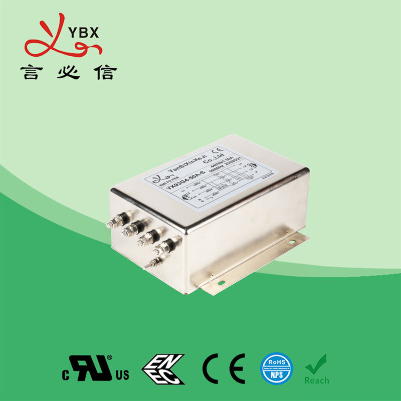 100A 3 Phase EMI Filter , Power Line Filters Three Phase OEM Service